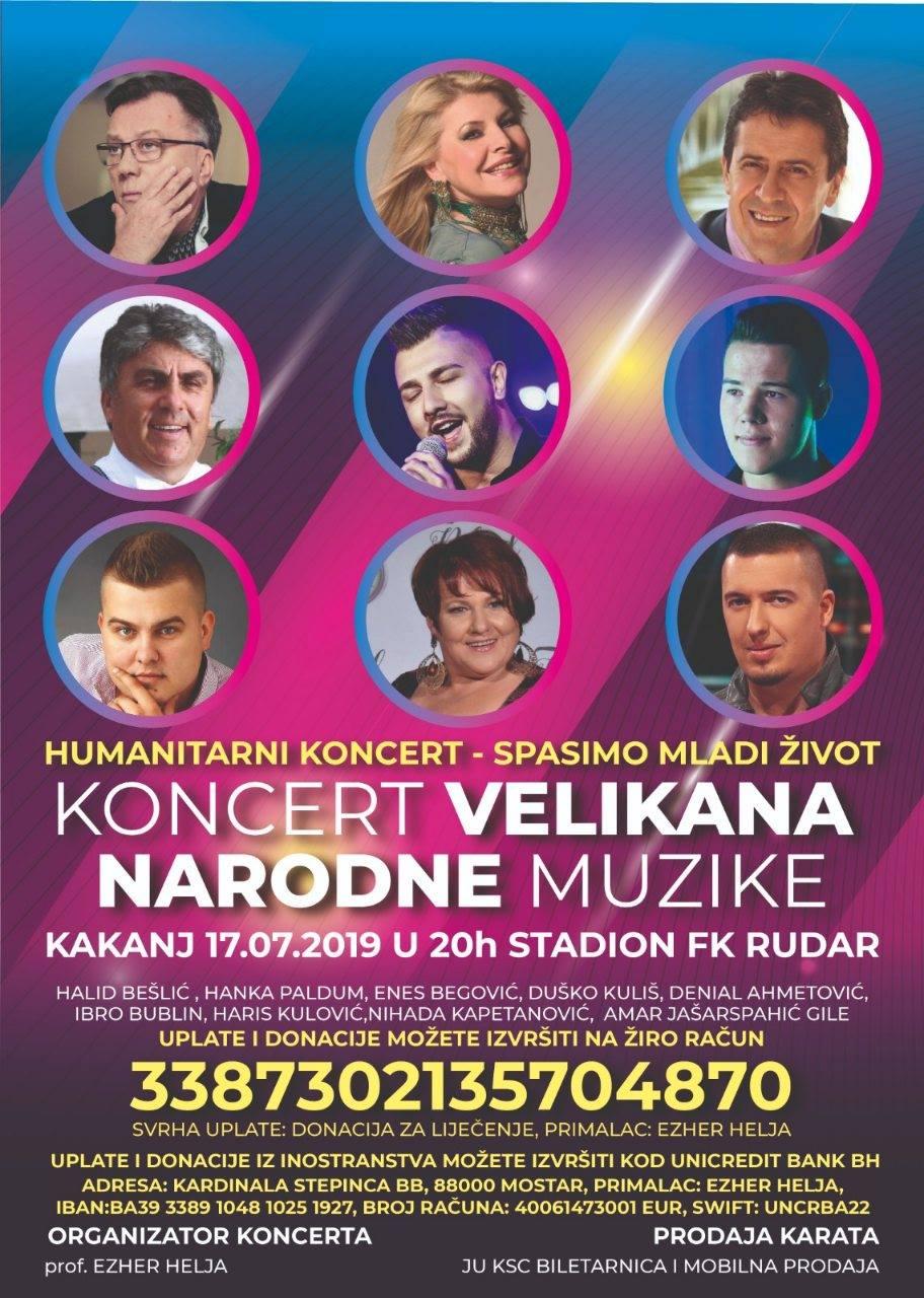 Humanitarni koncert – spasimo mladi život: Nastupaju velikani narodne muzike (17.07.2019. – 20 h, stadion FK Rudar)