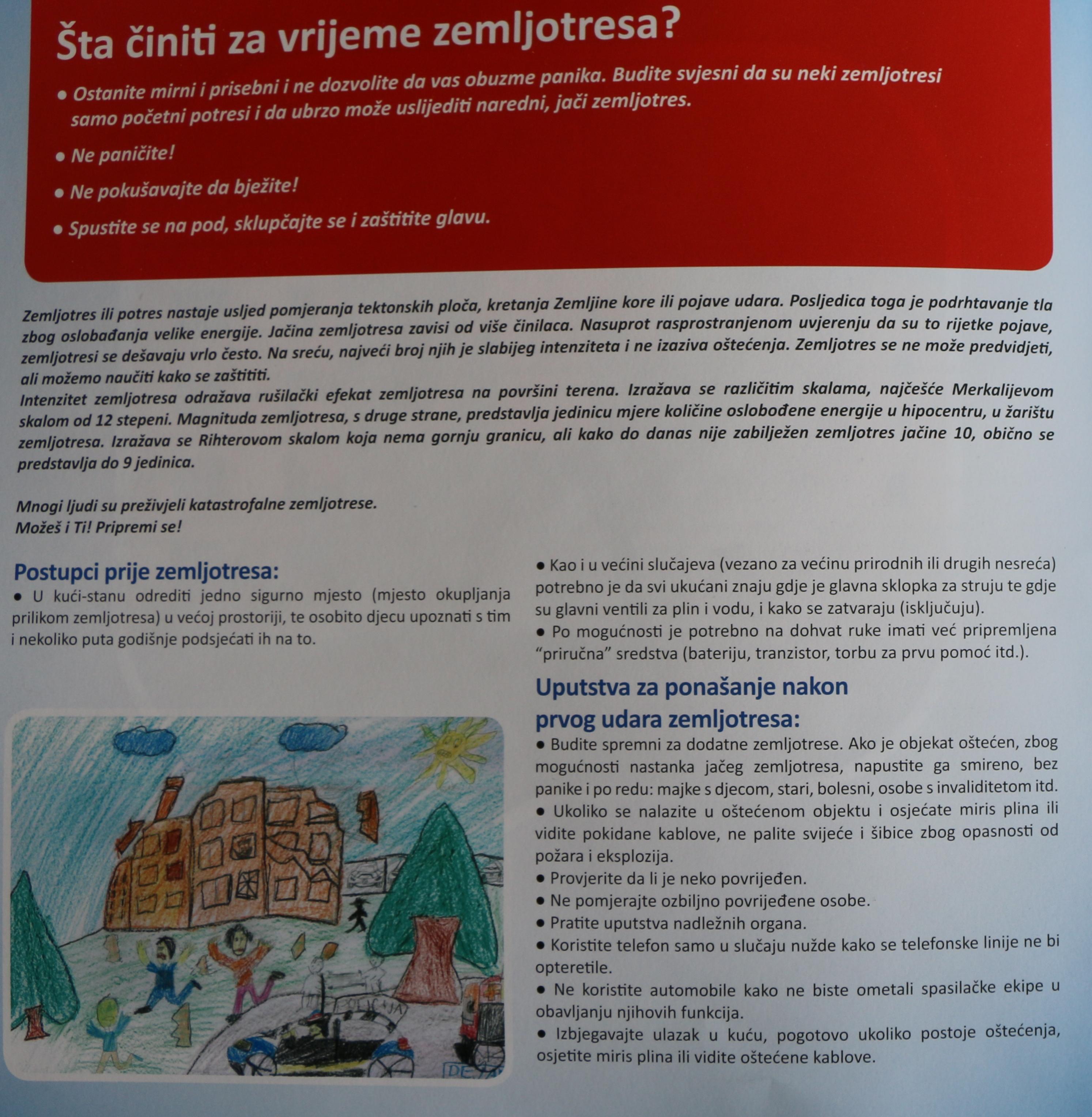 Preporuke: Šta činiti u vrijeme zemljotresa?